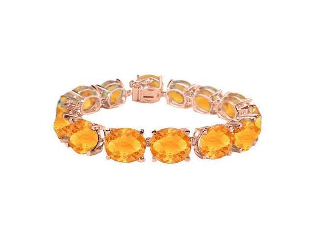 Tennis Citrine Bracelet Oval Cut in 14K Rose Gold Vermeil. 50 CT. TGW. 7 Inch