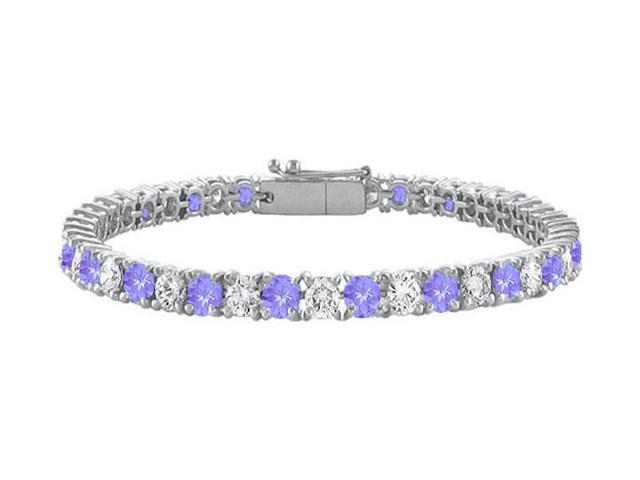 Created Tanzanite and Cubic Zirconia Prong Set 10K White Gold Tennis Bracelet 7.00 CT TGW