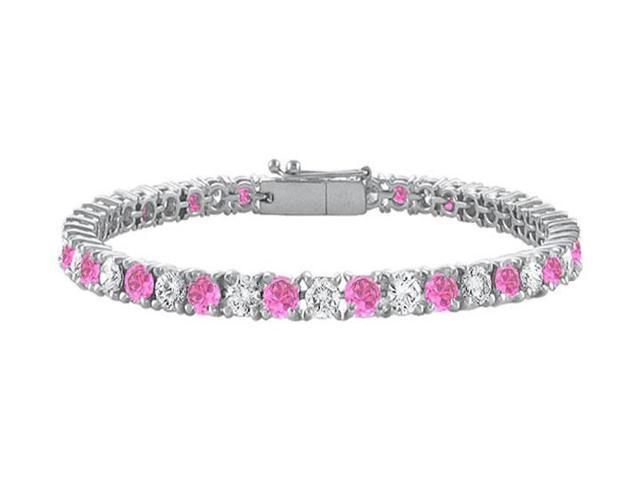 Sterling Silver Round Created Pink Sapphire and Cubic Zirconia Tennis Bracelet 10.00 CT TGW