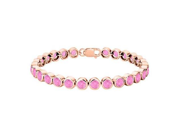14K Rose Gold Vermeil in Sterling Silver Twenty Five Carat Bezel SetPink Topaz Tennis Bracelet