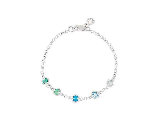 Rhodium Plating .925 Sterling Silver with Multi Color 7 Inch Bracelet