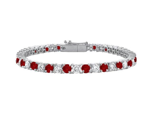 Garnet and Cubic Zirconia Prong Set 10K White Gold Tennis Bracelet 5.00 CT TGW