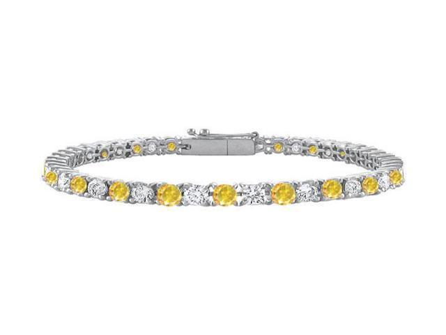 14K White Gold  Yellow Sapphire and Cubic Zirconia Prong-Set Tennis Bracelet 3.00 CT TGW