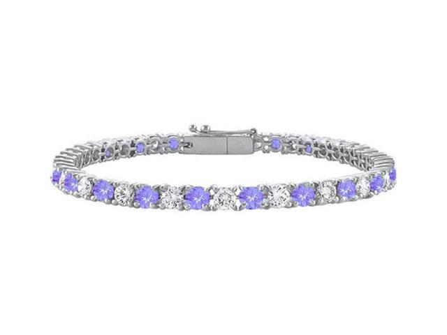 Sterling Silver Round Created Tanzanite and Cubic Zirconia Tennis Bracelet 2.00 CT TGW