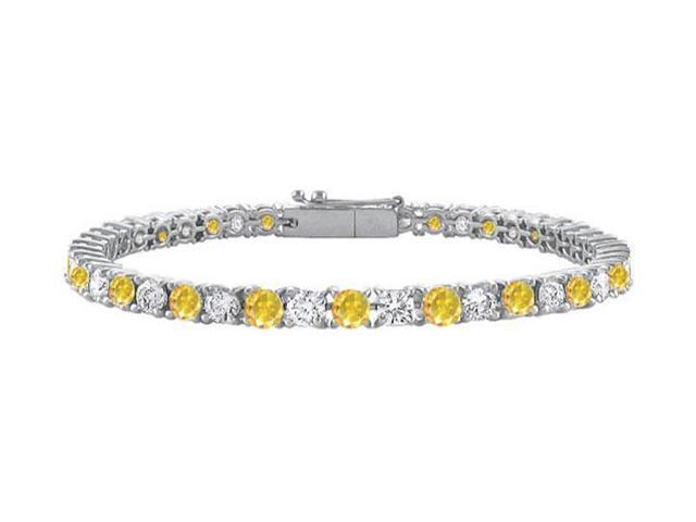 14K White Gold  Yellow Sapphire and Cubic Zirconia Prong-Set Tennis Bracelet 4.00 CT TGW