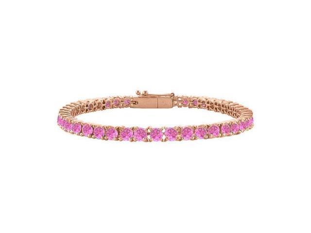 Pink Cubic Zirconia Tennis Bracelet in 14K Rose Gold Vermeil. 7CT. TGW. 7 Inch