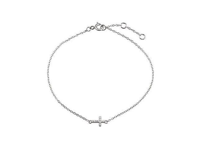 Sideways Cross Design Bracelet with CZ in Rhodium Plating .925 Sterling Silver 7.5 Inch