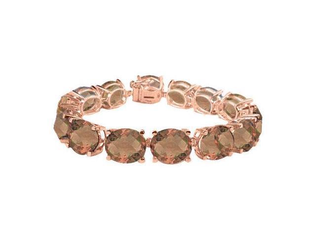Smoky Quartz Tennis Bracelet Oval Cut in 14K Rose Gold Vermeil. 50CT. TGW. 7 Inch