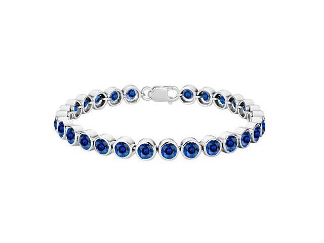 Diffuse Sapphire Bezel Set Tennis Bracelet 925 Sterling Silver 25.00 Carat Total Gem Weight