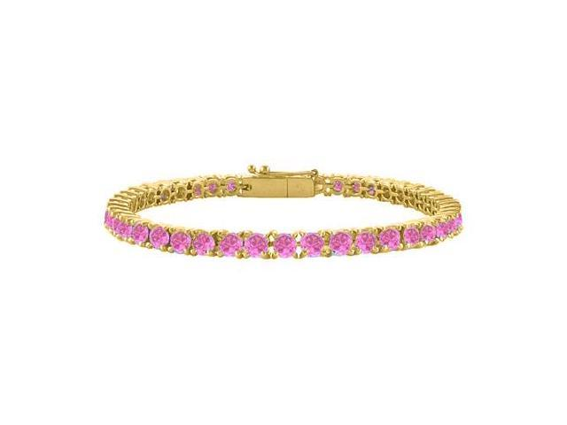 Pink Cubic Zirconia Tennis Bracelet in 18K Yellow Gold Vermeil. 5CT. TGW. 7 Inch