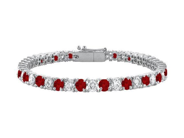Garnet and Cubic Zirconia Prong Set 10K White Gold Tennis Bracelet 7.00 CT TGW