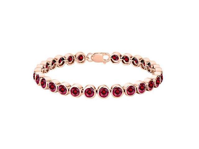 Sterling Silver with 14K Rose Gold Vermeil Bezel Set Created Ruby Tennis Bracelet of 25 Carat