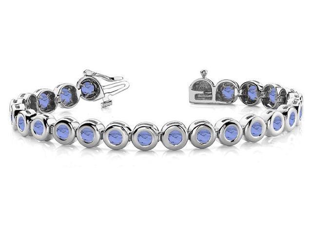 Created Tanzanite Tennis Bracelet in 14K White Gold. 10.50 ct.tw.