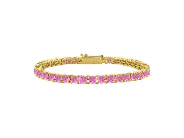 Pink Cubic Zirconia Tennis Bracelet in 18K Yellow Gold Vermeil. 7CT. TGW. 7 Inch