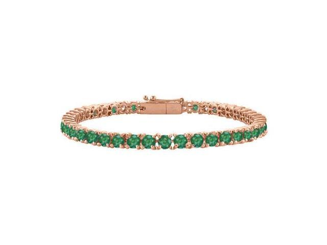 Created Emerald Tennis Bracelet in 14K Rose Gold Vermeil. 3CT. TGW. 7 Inch