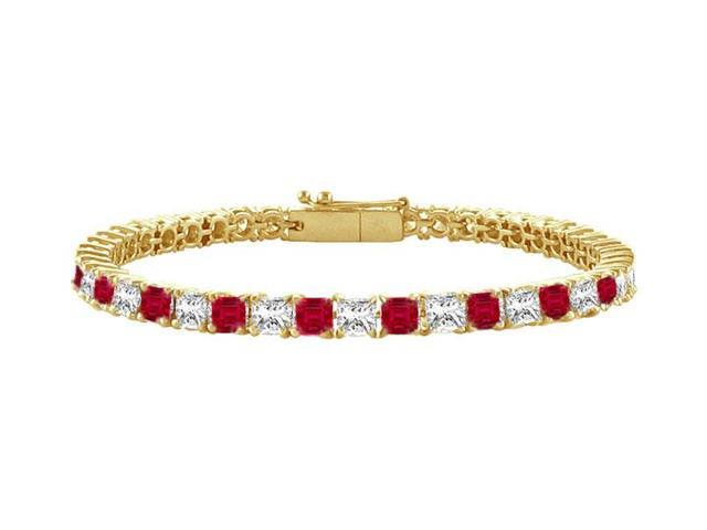 Ruby and Diamond Tennis Bracelet with 5.00 CT TGW on 18K Yellow Gold