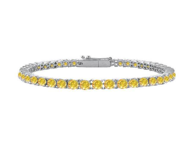 14K White Gold  Yellow Sapphire Prong-Set 2.00 CT TGW Tennis Bracelet