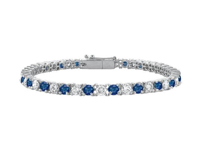 Diffuse Sapphire and Cubic Zirconia Prong Set 10K White Gold Tennis Bracelet 3.00 CT TGW
