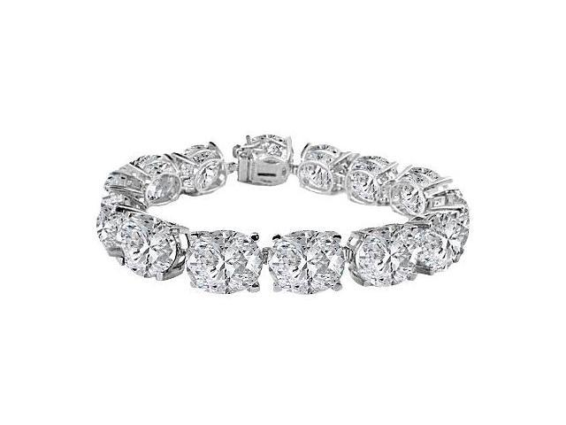 Cubic Zirconia Prong Set Bracelet in Sterling Silver 50.00.ct.tw
