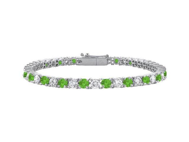 Peridot and Cubic Zirconia Prong Set 10K White Gold Tennis Bracelet 2.00 CT TGW
