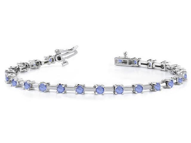 Classic Solid Rectangle Link Created Tanzanite Bracelet.10.ct.tw