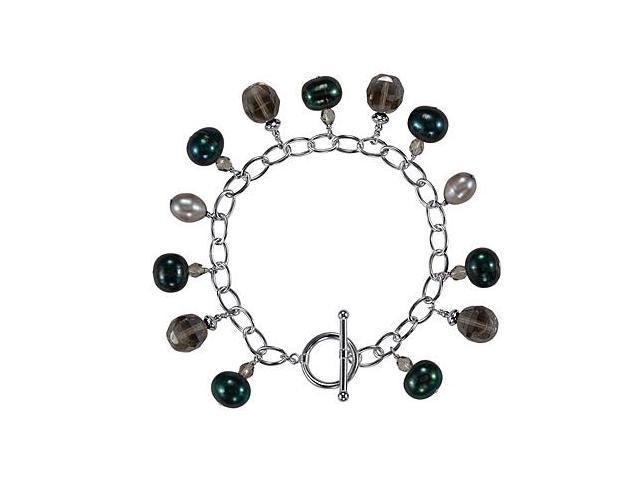 Freshwater Cultured Dyed Pearl and Smoky Glass Bead Bracelet in .925 Sterling Silver 7.25 Inch