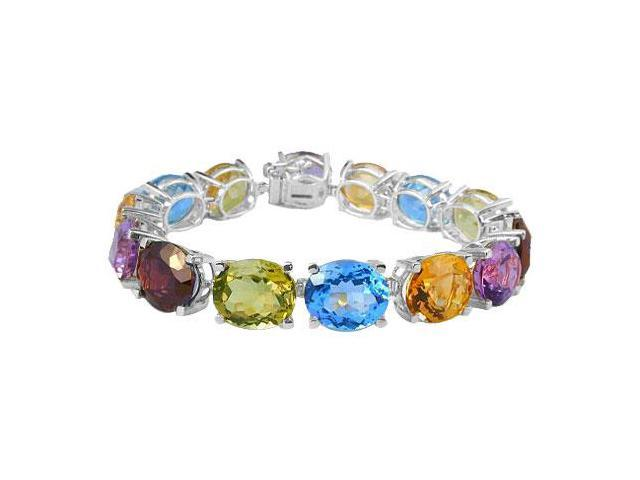 Sterling Silver Prong Set Oval Multi Color Gemstone Bracelet with 50.00 CT TGW
