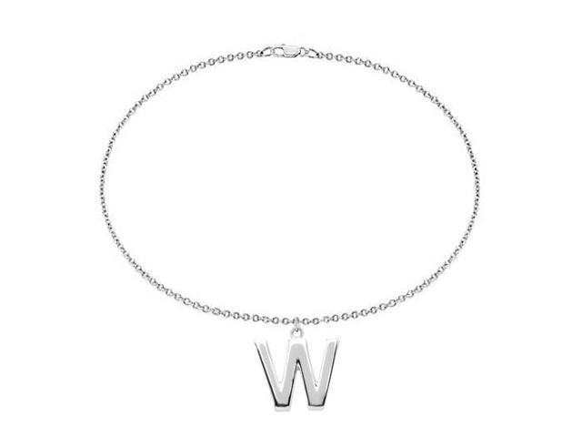 Sterling Silver Initial W Charm Bracelet