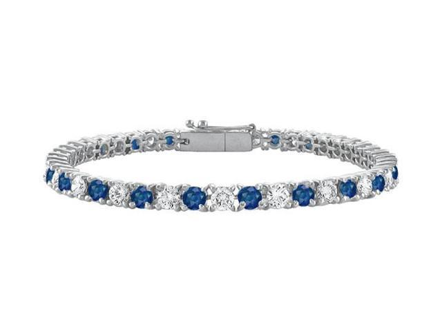 Diffuse Sapphire and Cubic Zirconia Prong Set 10K White Gold Tennis Bracelet 4.00 CT TGW