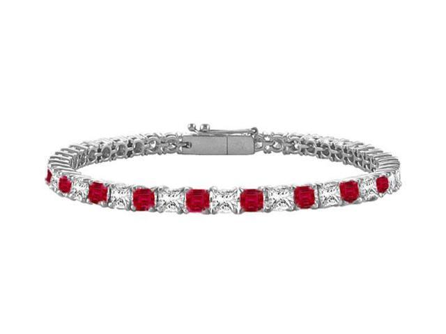 Ruby  Diamond Princess Cut Platinum Tennis Bracelet 2.00 CT TGW