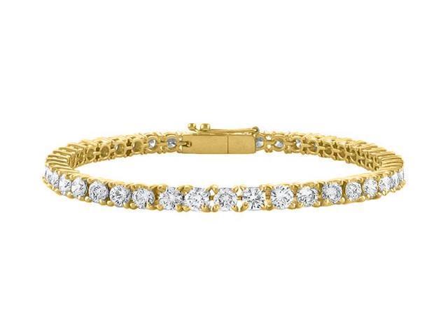 Tennis Bracelet Four Carat Cubic Zirconia in 18K Yellow Gold Vermeil. 7 Inch