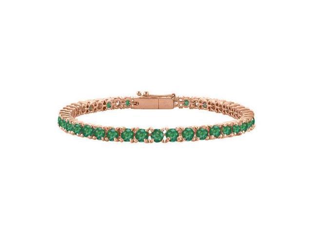 Created Emerald Tennis Bracelet in 14K Rose Gold Vermeil. 7CT. TGW. 7 Inch