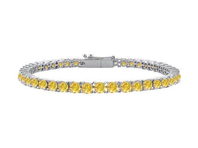 14K White Gold  Yellow Sapphire Prong-Set 5.00 CT TGW Tennis Bracelet