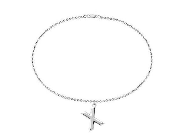 Sterling Silver Initial X Charm Bracelet