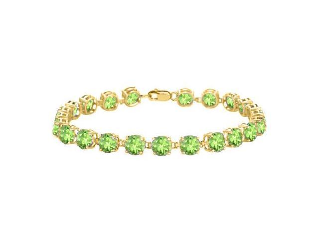 Peridot Bracelet in 18K Yellow Gold Vermeil. 12 CT. TGW. 7 Inch
