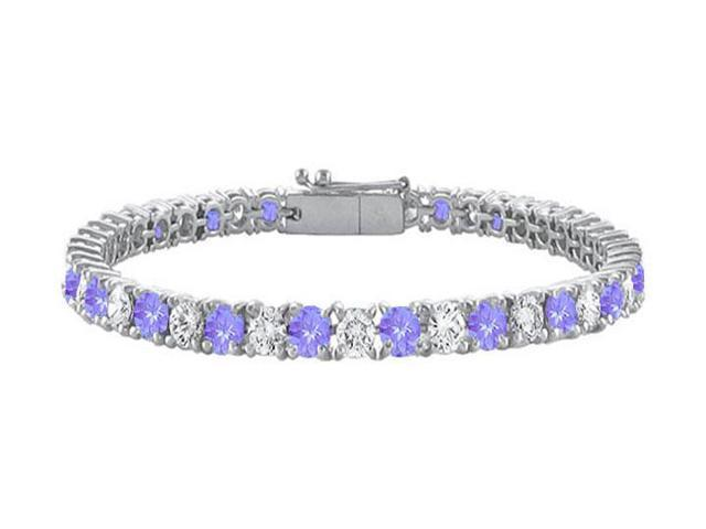 Sterling Silver Round Created Tanzanite and Cubic Zirconia Tennis Bracelet 10.00 CT TGW