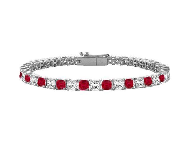 Ruby  Diamond Princess Cut Platinum Tennis Bracelet 3.00 CT TGW