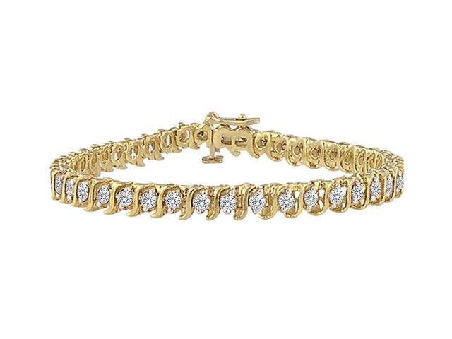 Diamond S Bracelet  14K Yellow Gold - 3.00 CT Diamonds