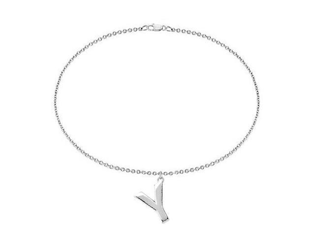 Sterling Silver Initial Y Charm Bracelet