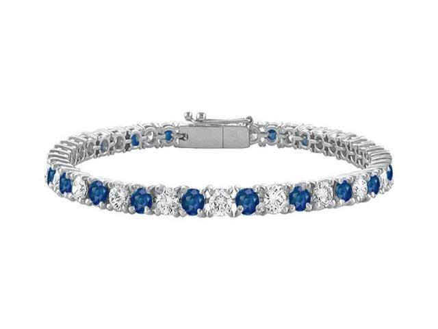 Diffuse Sapphire and Cubic Zirconia Prong Set 10K White Gold Tennis Bracelet 7.00 CT TGW