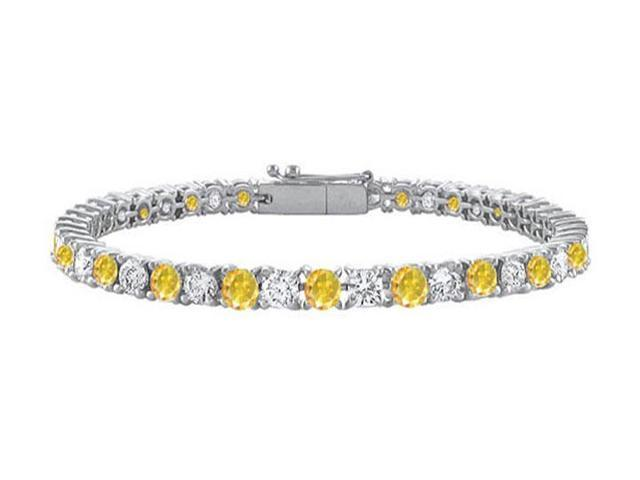 Yellow Sapphire and Cubic Zirconia Prong Set Tennis Bracelet in 14K White Gold 7.00 Carat TGW