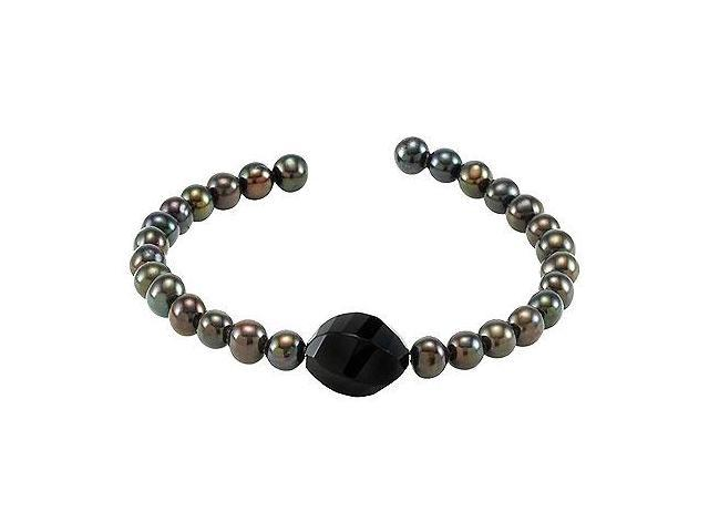 Black Agate  Cultured Freshwater Pearl Cuff 7.5 Inch Bracelet - .925 Sterling Silver