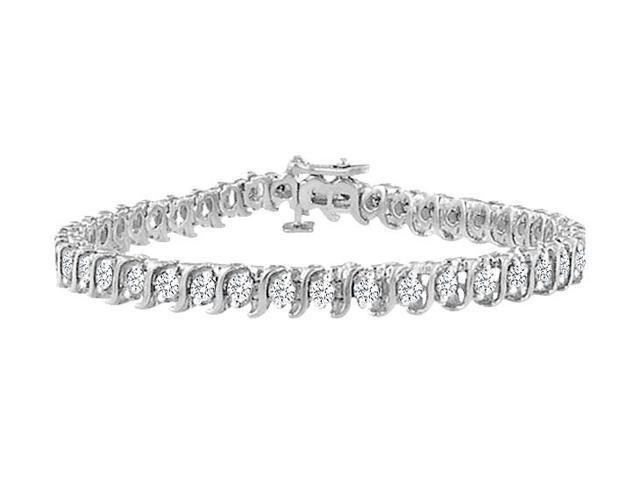 Cubic Zirconia S Tennis Bracelet  .925 Sterling Silver - 3.00 CT TGW