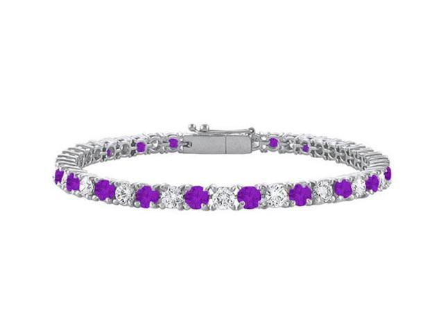 Sterling Silver Round Amethyst and Cubic Zirconia Tennis Bracelet 2.00 CT TGW