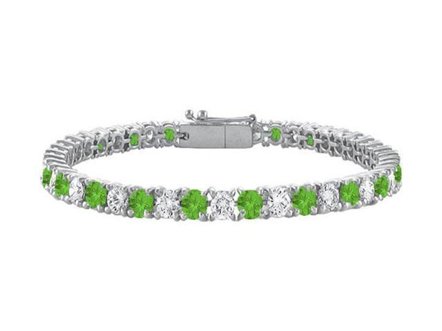 Peridot and Cubic Zirconia Prong Set 10K White Gold Tennis Bracelet 7.00 CT TGW