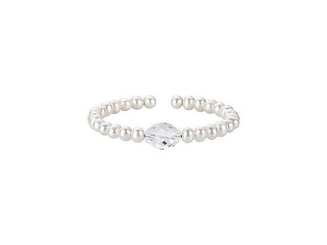 Crystal  White Cultured Freshwater Pearl Cuff 7.5 Inch Bracelet - .925 Sterling Silver