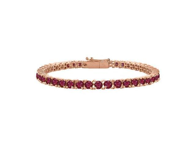 Created Ruby Tennis Bracelet in 14K Rose Gold Vermeil. 5CT. TGW. 7 Inch