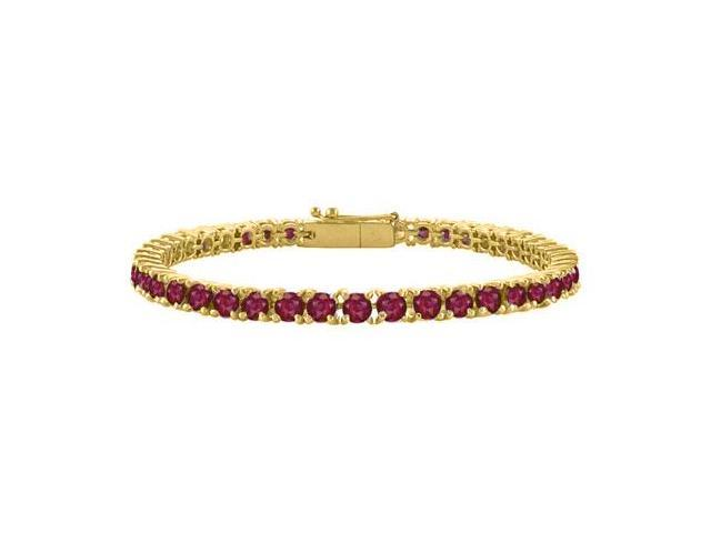 Created Ruby Tennis Bracelet in 18K Yellow Gold Vermeil. 3CT. TGW. 7 Inch