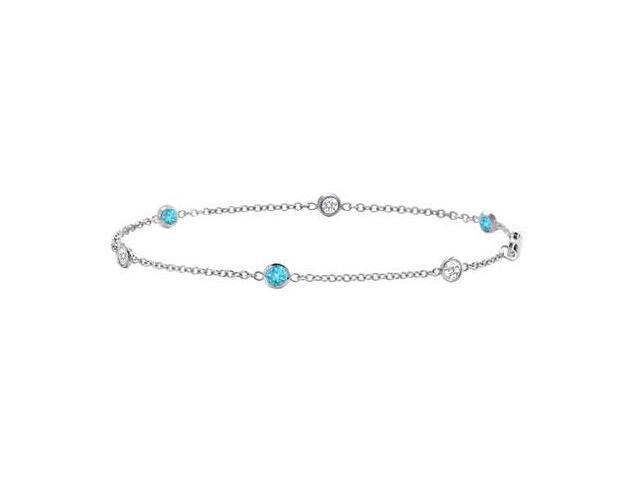 Blue Topaz and Diamond Bracelet  18K White Gold - 1.00 CT TGW