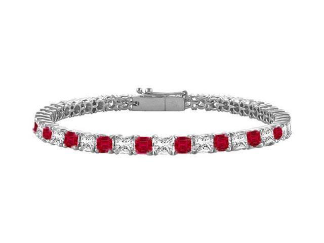 Ruby  Diamond Princess Cut Platinum Tennis Bracelet 5.00 CT TGW